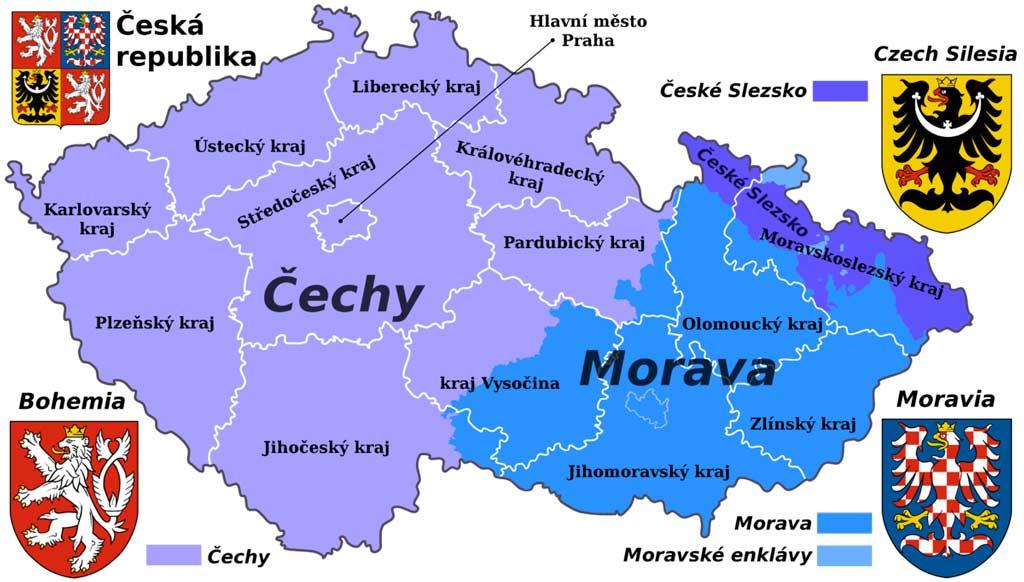 Среднечешский край на карте Чешской Республики