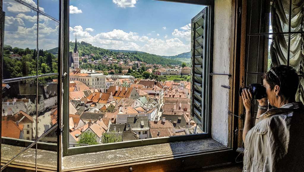 Чески-Крумлов. Вид из замка на город