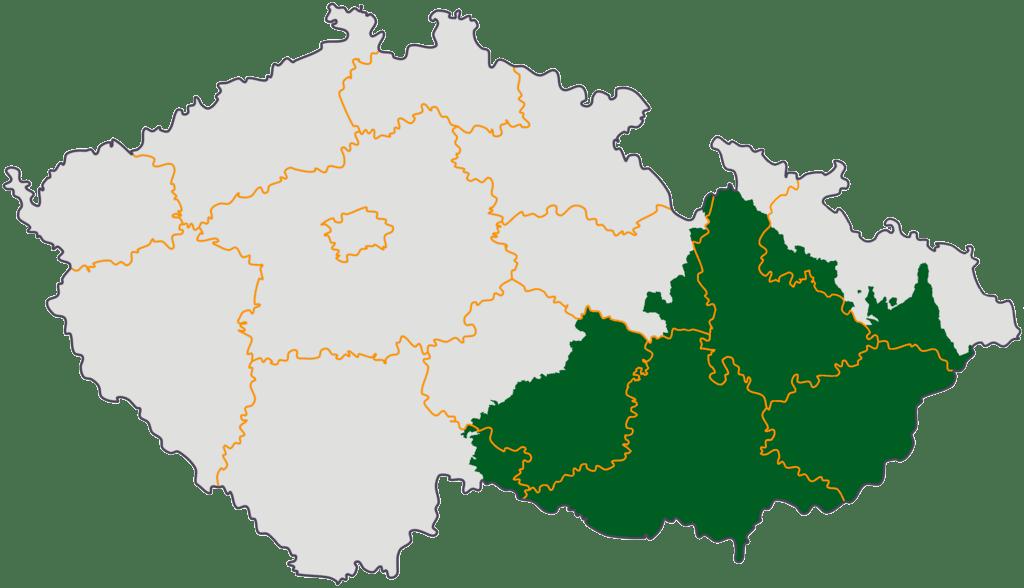 Моравия на карте Чешской Республики