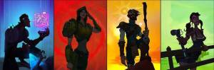 The four paths Scientist, Soldier, Explorer, Settler (left to right)