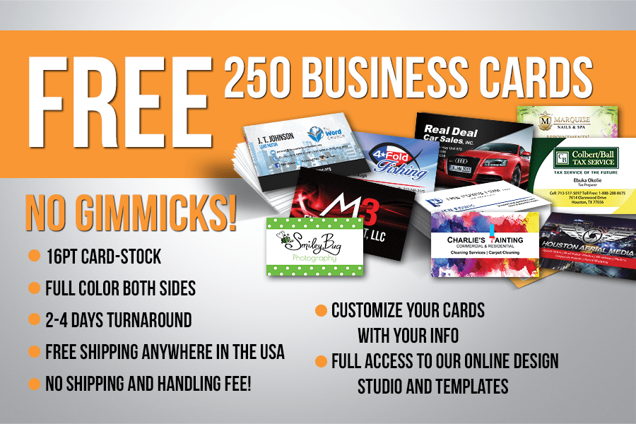 Free 250 business cards absolutely no gimmicks free 250 business cards reheart Image collections