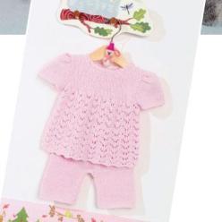 Вязание для малышей ТУНИКА И ШТАНИШКИ СПИЦАМИ РОЗОВОГО ЦВЕТА