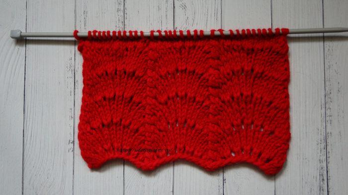 Схема вязания спицами, веерный узор, ажурный