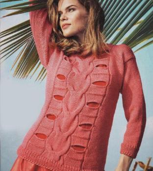 Вязание для женщин. Пуловер спицами со сквозным узором