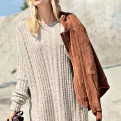 Вязание для женщин. Пуловер спицами с узором из «кос»