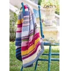 Вязание для дома. Плед спицами из пряжи секционного крашения