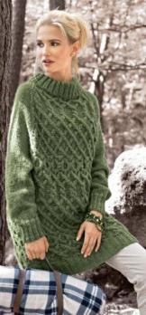 Вязание для женщин. Пуловер покроя реглан спицами с узором из «кос»