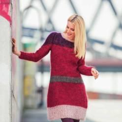 Вязание для женщин. Мохеровое платье спицами