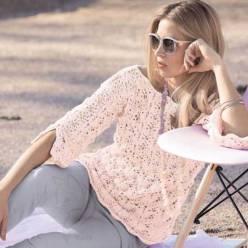 Вязание для женщин. Розовый пуловер спицами