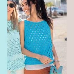 Вязание для женщин. Укороченный голубой топ спицами