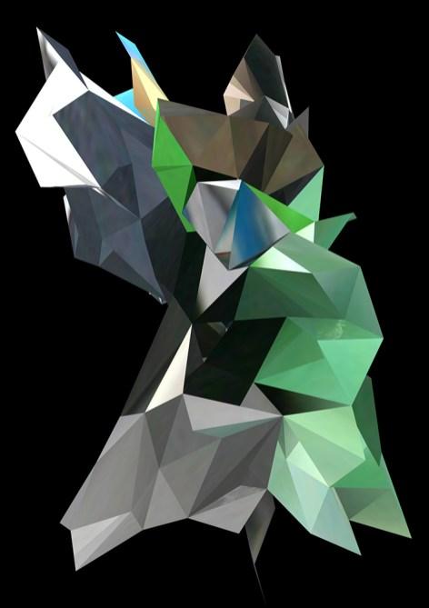 """""""Poubelle et vélo"""", réinterprétation dimensionnelle n° r_370-2, vue frontale, 2013"""