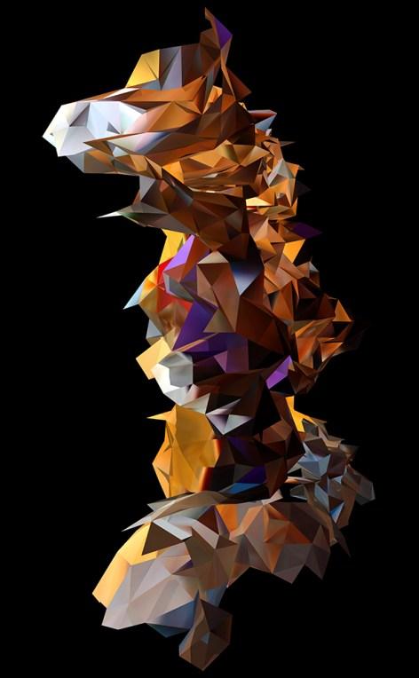 """""""Fers à béton, échafaudage et sacs à gravats"""", réinterprétation dimensionnelle n° r_375-4b, vue de la caméra 9, 2013"""