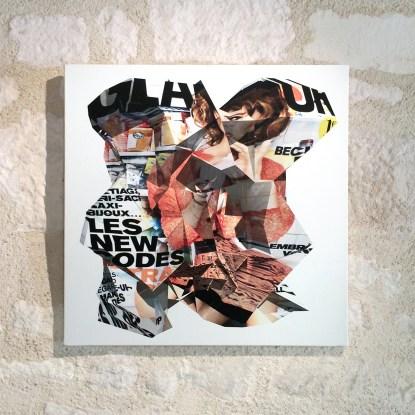 """""""Glamour n° 105 : Les new codes ultra-mode"""", Réinterprétation dimensionnelle n° r_412, vue frontale, tirage sur toile, 50 x 50 cm"""