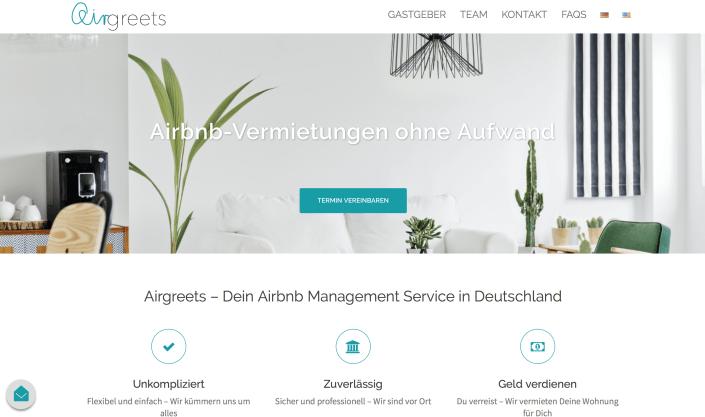 Airgreets Screenshot Webseite