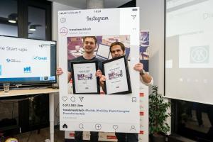 Patrick Häde von Mapify und Sebastian Hubrich von meine-weltkarte.de auf der Travel Start-up Night in München