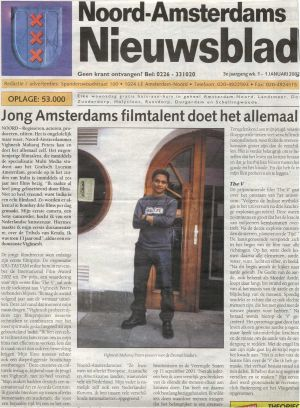 2003 Noord-Amsterdams niuewsblad 'Jong Amsterdams filmttalent doet het allemaal'