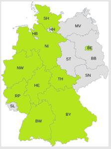 Die aktuellen Landesverbände der V-Partei³ (in hellgrün)