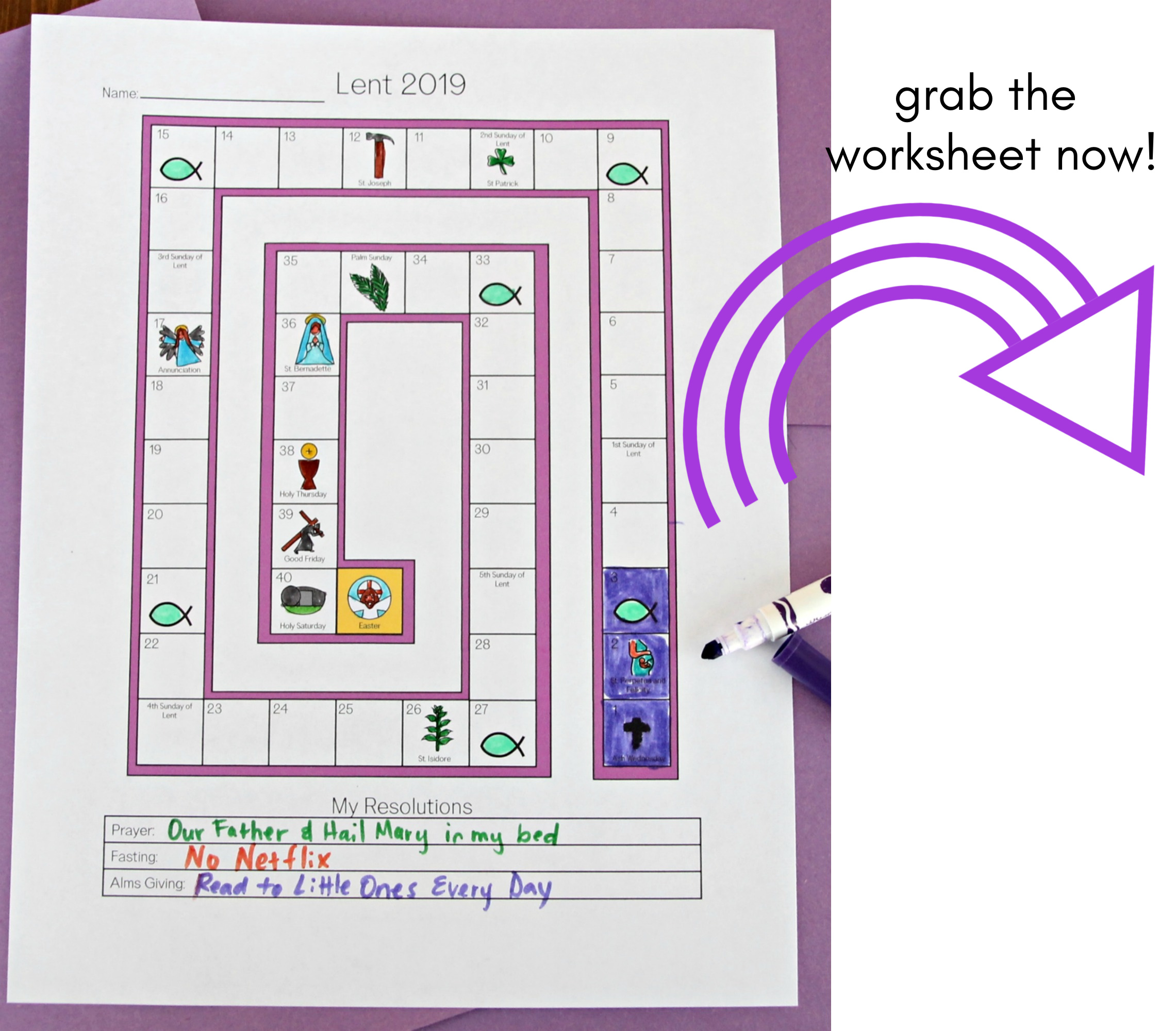Lenten Countdown Worksheet For Children
