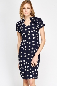 Daisy Print Pencil Dress