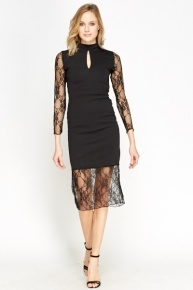 Lace Hem Midi Black Dress