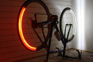 view of Revolights installed on bike (bike is upside-down)