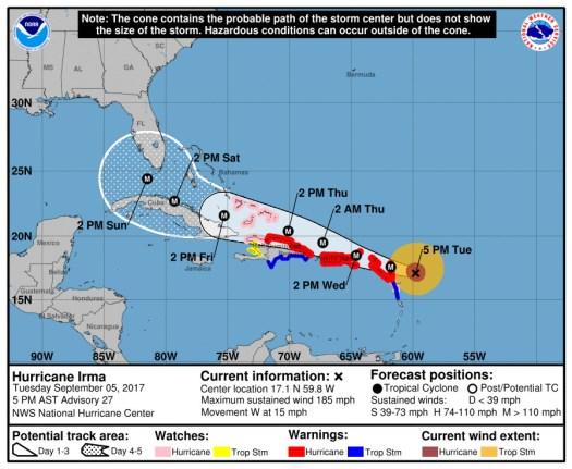 Hurricane Irma forecast 201709042100Z