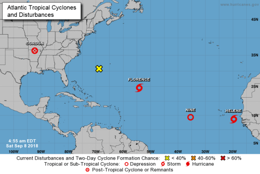Atlantic Tropical Cyclones and Disturbances 2018-09-08