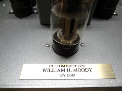 Audio amp name plate: Custom built for William H. Moody by DSM