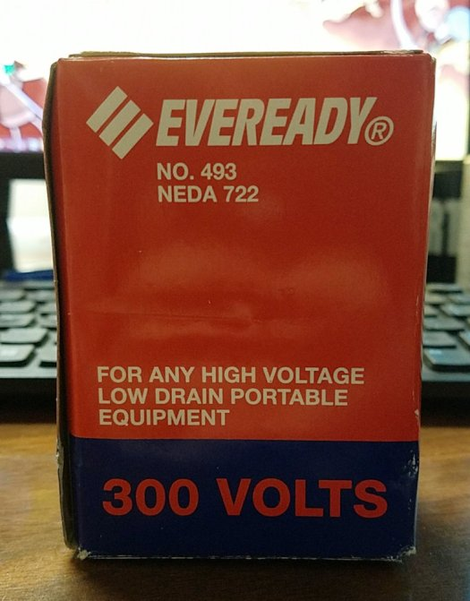 Eveready 300V #493 battery