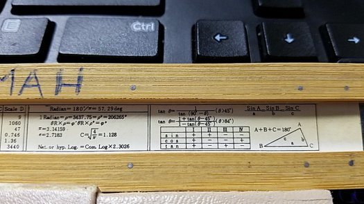 Ricoh No. 102 slide rule back