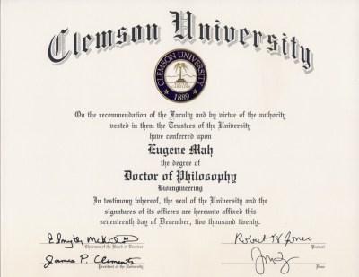 Clemson University PhD diploma