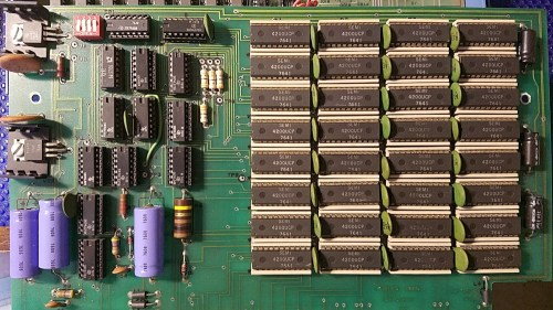 Photo of the Altair 680 memory board.  A 8x4 bank of 4 kbit static RAM chips provides 64k of RAM.