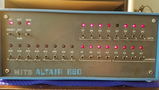 Altair 680 front panel with the first 8 address line switches turned on