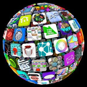 outsourcedglobe - Apps in Sphere Pattern - World of Mobile Applications
