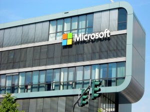 microsoft logo on building - Microsoft Cloud Options: Office 365 and Azure
