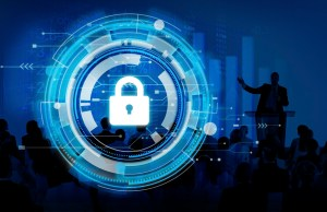 cyber security lock with people around it - Small Business IT Security Basics, Part 1: 5 Essential Steps for Ensuring Cybersecurity