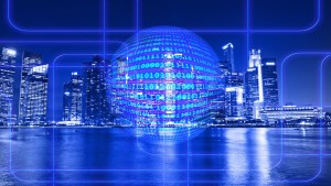 ball of information on city landscape - Security Information and Event Management: Giving You a Big Picture for Cybersecurity Protection
