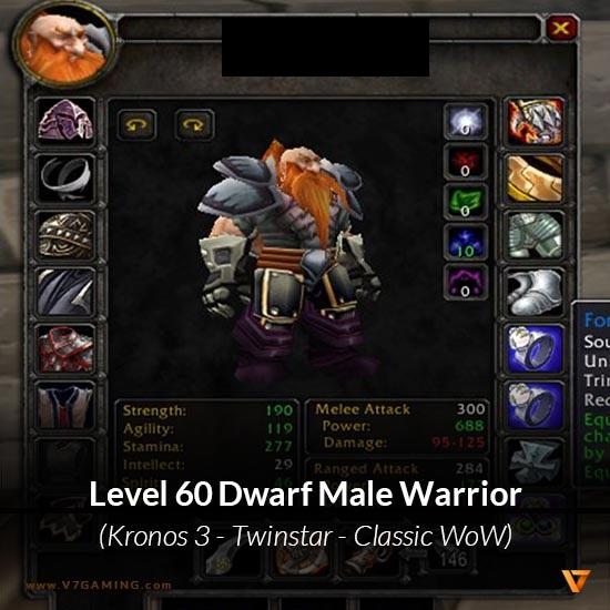 Dwarf Male Warrior Level 60 Kronos 3 Classic Wow