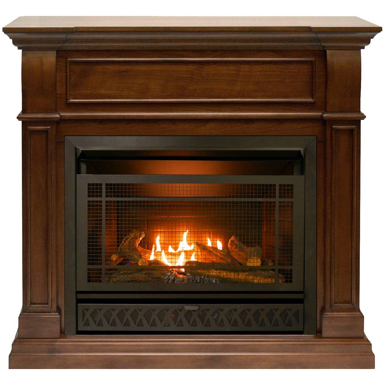 Procom Ventless Dual Fuel Corner Fireplace System Walnut