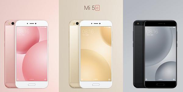 Modelos del Xiaomi Mi5C en rosa, dorado y negro