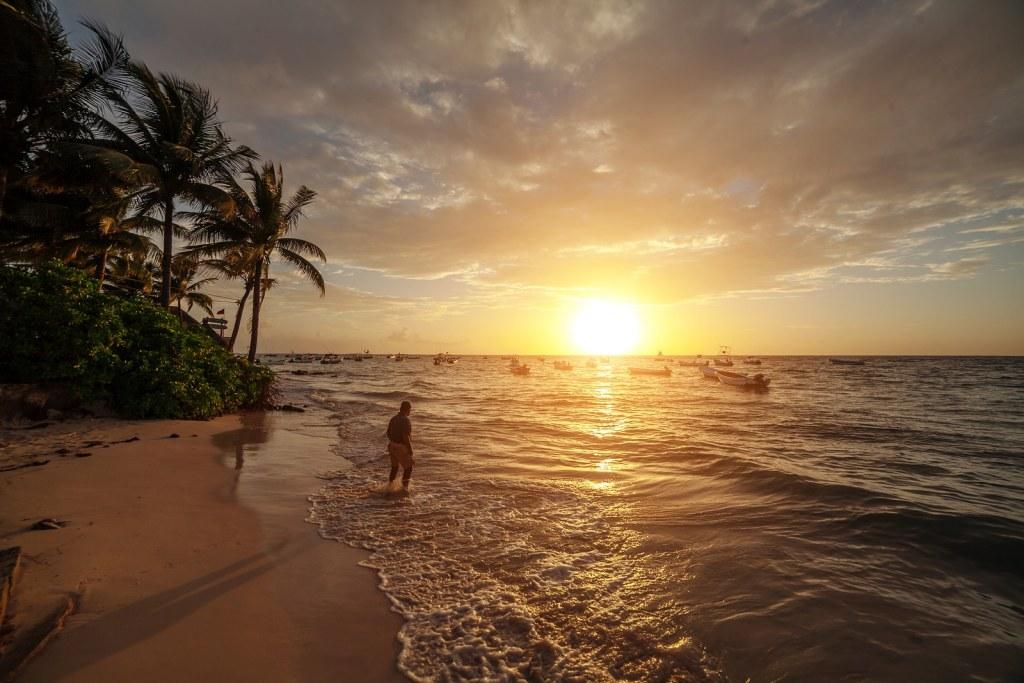 Sunrise over the ocean in Mazatlan