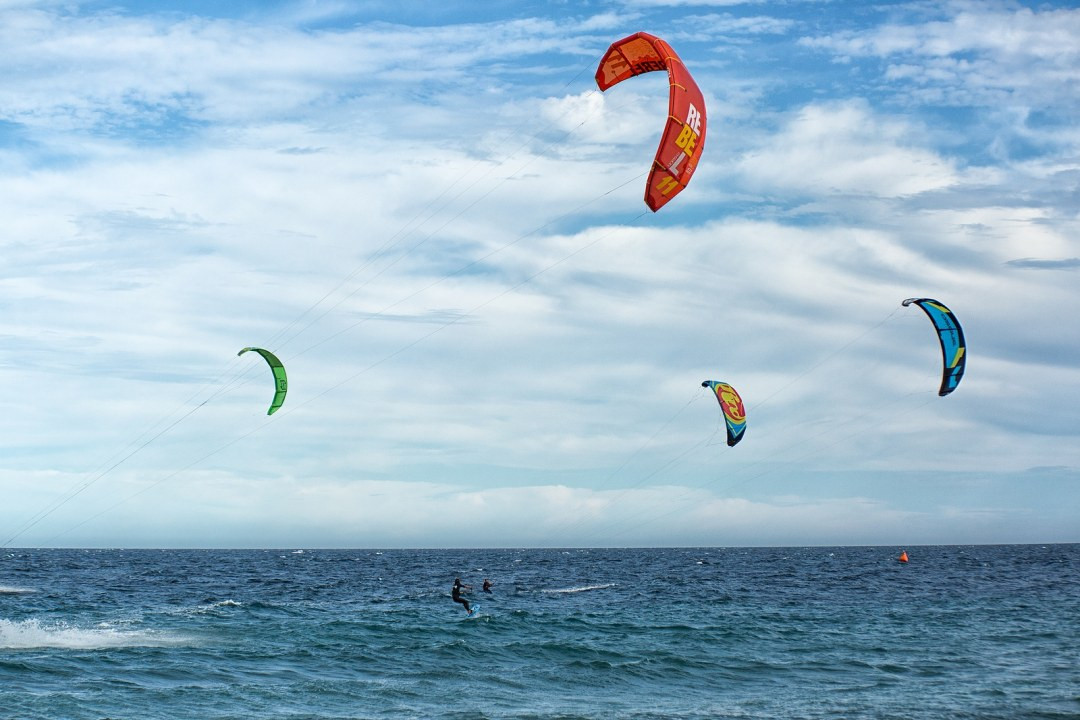 : kite-boarders on the sea