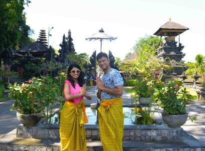 Us at the Goa Lawah Temple with the Sarong