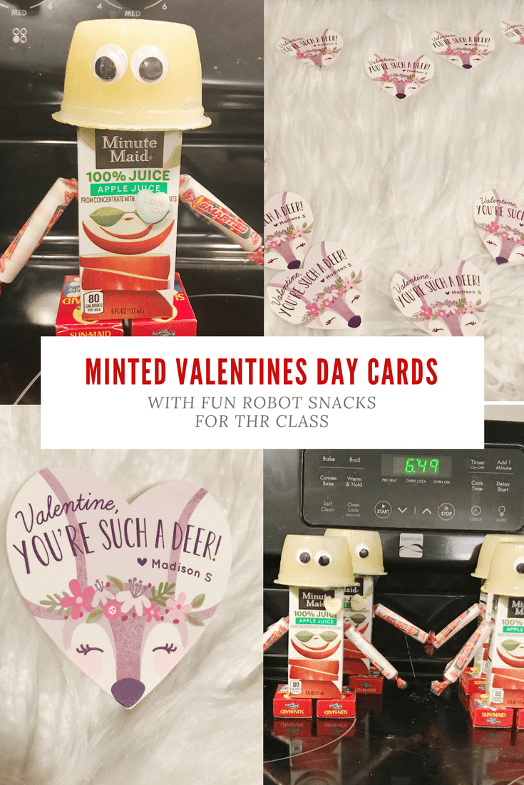 Minted Valentine's Day Cards with fun Robot Snacks for the Class