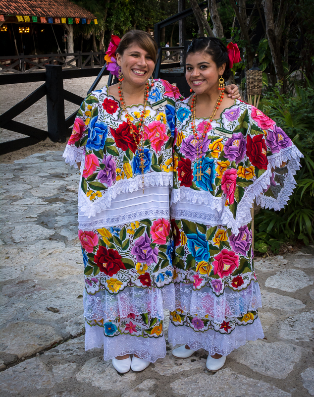 Colorful dress at Xcaret park in Mayan Riviera Mexico.