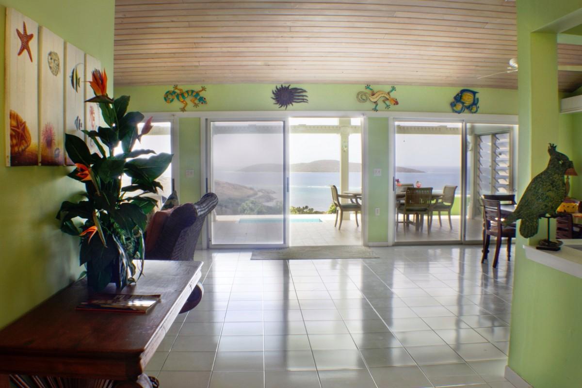 Villa Amonoka Great Room with a View of Buck Island