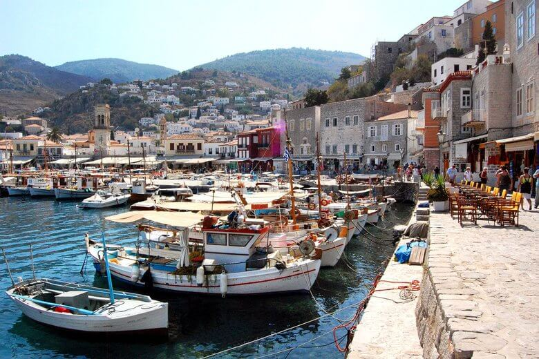 harbor in hydra greece, skippered sailing charter popular spot to visit in greece