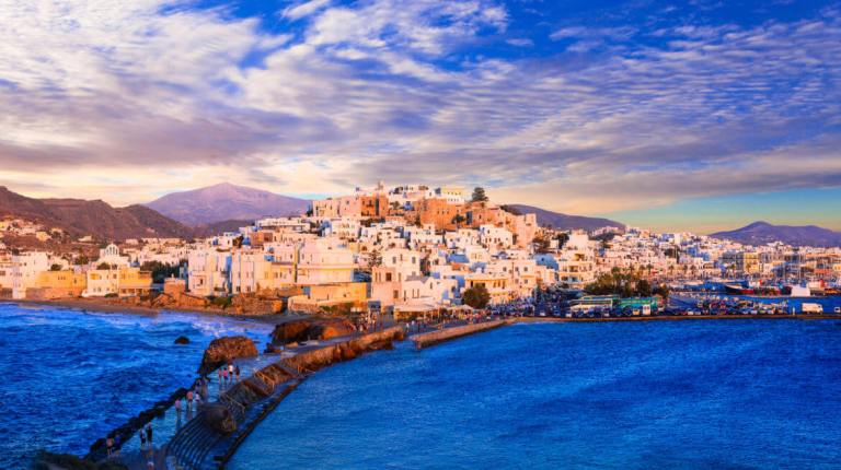 Panoramic view of Naxos island over sunset,Cyclades,Greece.