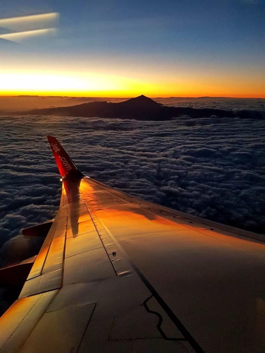 volcano teide, views from plane, tenerife