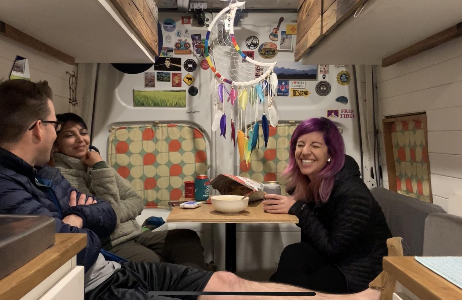 friends laughing in diy vanlife camper van vacay vans